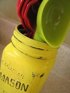 distressed mason jars for kitchen utensils