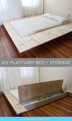 Diy Platform Bed Frame with Storage . Diy Platform Bed Frame with Storage .