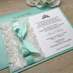Sweet sixteen teal and silver glitter custom handmade invitation alexis white rosette sweet sixteen invitation white rosettes and aqua ribbon with swarovski crystals quinceaera invitation solutioingenieria Image collections