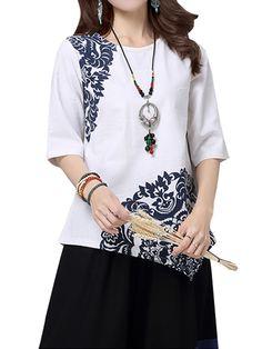 Sale 15% (21.99$) - Vintage Ethnic Style Women Brief Printing Irregular Cotton Linen T-shirt