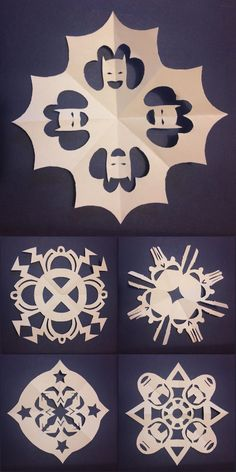 "DIY 5 Superhero Snowflake Templates from Comic Book Resources. These are by Sonia Harris who writes: "" So here are five snowflake templates to print and cut out, each based on a different superhero;..."