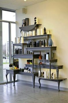 Just an idea of what to do with extra wooden tables... turn them into stacked shelves!!!