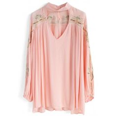 Boho Sparkle Embroidered Tunic in Pink - Retro, Indie and Unique Fashion