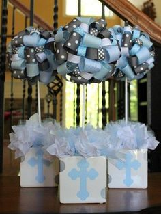 Baptism Christening Themed Ribbon Topiary Baby Blue, Grey, Pale Yellow