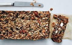 Nutty Grain and Oat Bars (maybe try subbing a flax egg for some of the maple syrup to cut down on the sugar)