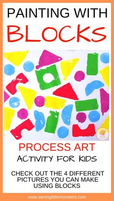 Block Painting, process art for kids – Taming Little Monsters Painting with blocks is a fun process art activity for kids. Check out the 4 different kinds of paintings your toddlers and preschoolers can make using blocks. Quiet Toddler Activities, Art Activities For Toddlers, Preschool Art Projects, Painting Activities, Cool Art Projects, Toddler Preschool, Toddler Crafts, Preschool Activities, Art Projects For Toddlers