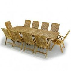 "Grand Veranda 11pc Teak Patio Set by Westminster Teak Furniture. $8995.00. Recliner Chair 43.3"" H x 27.20""D x 23.35""W; seat - 17.9H. Table 86.7""/102.4""/118.1"" L x 39.3"" W x 29.1"" H. Lifetime Warranty against Manufacturer Defects. Comes with 1 Grand Veranda Extension Table and 10 Martinique Recliner Armchairs. Quality Rated ""Best Overall"" by the Wall Street Journal. We feature only the highest quality, plantation-grown teak furniture as can be seen in this exquisite Grand  R..."