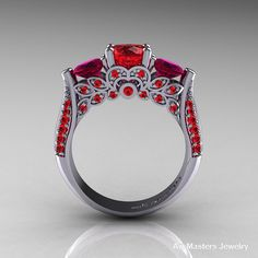 Classic 14K White Gold Three Stone Rubies Red by DesignMasters