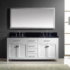 Virtu USA Caroline 72-inch Double Bathroom Vanity Cabinet Set in White (72  in. Black Galaxy Round Vanity Set in White), Size Double Vanities