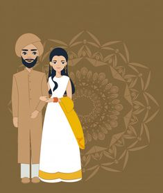 Cute indian couple in traditional wedding dress Vector Wedding Card Design Indian, Indian Wedding Couple, Wedding Couples, Wedding Designs, Wedding People, Wedding Ideas, Trendy Wedding, Diy Wedding Flower Centerpieces, Wedding Stage Decorations