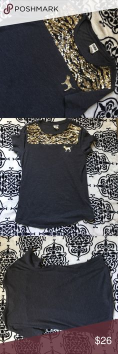 PINK 🐅 sequin top this tiger printed sequin PINK shirt is super cute and eye catching 🐅 PINK Tops Tees - Short Sleeve