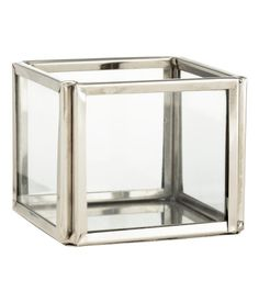 Check this out! Small tea light holder in clear glass with a metal frame and base. Size 2 x 2 1/4 x 2 1/4 in. - Visit hm.com to see more.
