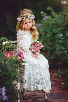 Long Sleeve Boho Flower Girls Dresses For Wedding Floor Length Lace Little Kids First Communion Dress Vintage Cheap Pageant Gowns - Monsoon Flower Girl Dress, Flower Girl Dresses Boho, Lace Flower Girls, Lace Flowers, Boho Dress, Girls Dresses, Dresses Dresses, Dress Lace, Ivory Lace Dresses