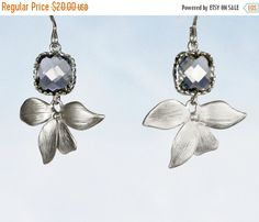 20 off. Angles and Dangles. Gold or Silver Orchid by GojoDesign