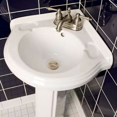 "corner pedestal sinks for small bathrooms | Gaston Corner Pedestal Sink with 4"" Centers | Signature Hardware"