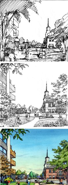 Fitzgerald Associates. South Halsted St. Process: Thumbnail sketch, inked drawing, colored rendering. Charrette drawing by Bruce Bondy, Bondy Studio.