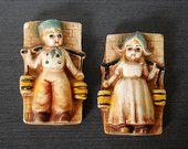 Chalkware Dutch Children, Boy and GIrl Carrying Water Buckets, Muted Tones