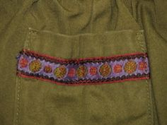 Olive green skort with ethnic ribbon trim - baby girl Bohemian