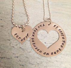 Aunt/Niece Hand Stamped Necklace. The love by MetalJewelryAmy