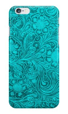 """Turquoise Leather Look-Embossed Floral Design"" iPhone Cases & Skins by artonwear 