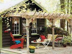 shed with pergola - pergolas make everything cuter.