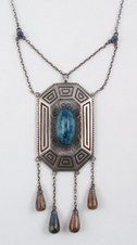 Festoon sterling pendant necklace with blue stone and dangles  Theodor Fahrner Circa 1906-1908