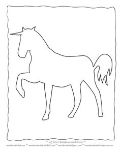 Unicorn Coloring Pictures Book FREE to print at www.wonderweirded-creatures.com/unicorn-coloring-pictures-book.html , Echos Mythological Coloring Pages Collection, Unicorn Outline Stencil Teacher Resources