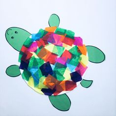 Cute sea turtle craft with paper plate and tissue paper squares. Kindergarten science lessons activities and printables. Kindergarten Art Lessons, Science Lessons, Kindergarten Party, Sea Turtle Life Cycle, 1st Grade Crafts, Easter Arts And Crafts, Crafts For 3 Year Olds, Turtle Crafts, Tissue Paper Crafts