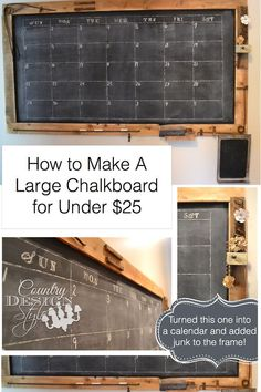 How to make a Large Chalkboard - Country Design Style Make A Chalkboard, Chalkboard Calendar, Diy Calendar, Chalkboard Drawings, Chalkboard Lettering, Chalkboard Ideas, Large Wall Calendar, Foyer Decorating, Decorating Games