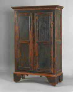 Painted pine wall cupboard, ca. retaining its original green painted surface, 71 H. x 41 W. Primitive Cabinets, Primitive Furniture, Primitive Antiques, Antique Furniture, Painted Furniture, Painted Armoire, Farmhouse Cabinets, Blue Furniture, Modern Furniture