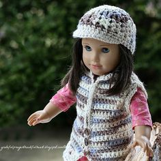 American Doll Crochet Hat Pattern | The other two sets were made using yarn I had in my stash and resulted ...