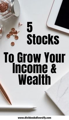 High Growth Dividend Stocks - Dividends Diversify - Dividend Stocks & Dividend Investing for Passive Income - You will love this 5 pack of income income growth and wealth creation. Here are 5 stocks that bring - Stock Market Investing, Investing In Stocks, Investing Money, Saving Money, Stocks For Beginners, Stock Market For Beginners, Investment Tips, Investment Portfolio, Inbound Marketing