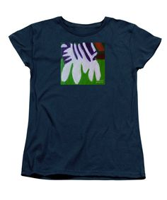 Purchase a women's Navy Designer t-shirt featuring the image of Zebra 2014 by Patrick Francis.  Available in sizes S - XXL.  Each womens t-shirt is printed on-demand, ships within 1 - 2 business days, and comes with a 30-day money-back guarantee.