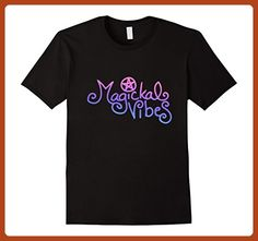 Mens Magickal Vibes t-shirt Pagan Magick tee shirts neon retro Medium Black - Retro shirts (*Partner-Link)