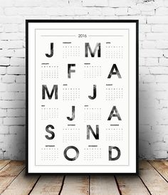 2016 calendar, typography poster, scandinavian print, watercolor print, wall calendar, typographic print, home decor, minimalist print, Dimensions available: 5 x 7 8 x 10 11 x 14 A4 210 x 297 mm (8.3 x 11.7) A3 297 x 420 mm (11.7 x 16.5) - Please choose from drop down menu above!  If you are interested into any size that is not available, please contact us.    INFO:  Prints are printed on 240gsm Archival Matt photo paper  Shipped in a sturdy mailing tube with sealed caps  Frame is not…