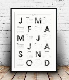 calendrier 2016 affiche de typographie, scandinave, aquarelle impression, calendrier mural, décoration maison impression typographique, imprimer
