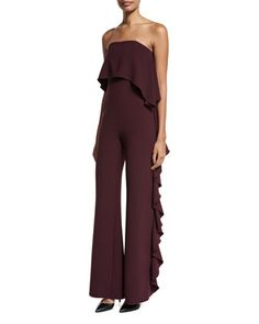 Kendall+Strapless+Ruffle+Jumpsuit+by+Alexis+at+Neiman+Marcus.
