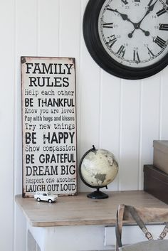 Love these family rules. Family Rules Sign, Happy Show, Home And Deco, Good Thoughts, New Room, My Dream Home, Room Interior, Decoration, Home Furniture