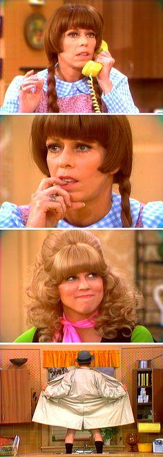 Saturday, Sept. 25, 1976 — The Carol Burnett Show — Carol & Vicki Lawrence in 'Mary, Mary Quite Contrary' spoof of Mary Hartman, Mary Hartman