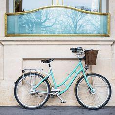 Paris Bicycle Photograph - Blue Bike in Paris, French Decor, Fine Art Tavel Photograph, Neutral Home Decor, Large Wall Art