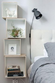 Cute Wooden Set Of Stacked Square Shelves