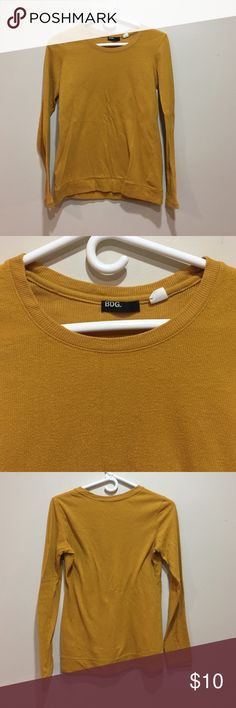 MUSTARD LIGHTWEIGHT SWEATER Lightweight BDG sweater from UO. MUSTARD color. Has been worn quite a bit but no damage other than wear BDG Tops
