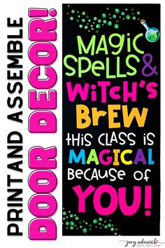 This door is a fun and magical display that will capture the imaginations of your students and the excitement of the season! Also great as a bulletin board decoration set. This MAGICAL door will get your students excited for Halloween. Everything you need to print and create your own Magical door is included. Great for a hallway display, classroom bulletin board in addition to a door. Great for pediatric offices, counselors, speech and language therapy, and more. #ClassroomDecor. Bulletin Board Display, Classroom Bulletin Boards, Classroom Door, High School Classroom, Elementary Teacher, Hallway Displays, Board Decoration, Classroom Inspiration, Speech And Language