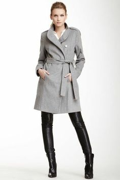 Gray trench + thigh high boots!