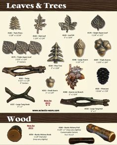 BuckSnort Lodge Trees & Leaves and Wood Collecdtions - Acorn knobs and Twig cabinet handles