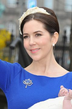 Crown Princess Mary poses after the christening of her twins Prince Vincent and Princess Josephine at Holmens Kirke on April 14, 2011 in Copenhagen, Denmark.