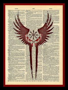 Valkyrie Wings Protection Symbol Print Vintage Dictionary Page