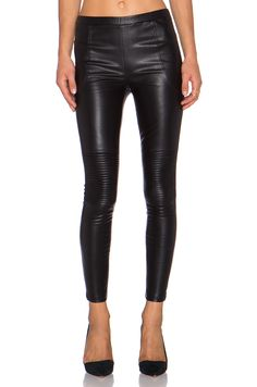 Line & Dot Moto Pant in faux black leather