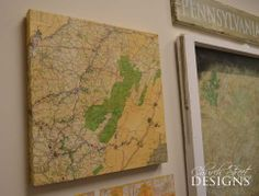 Easy Canvas Map Tutorial -  How to age a new map - Decorating with old maps - Office Makeover - Church Street Designs