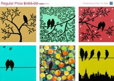 "HOLIDAY SALE - Birds Art Original Modern Abstract birds on wire birds on tree cityscape ""Mix and Match Suburban Birds"""